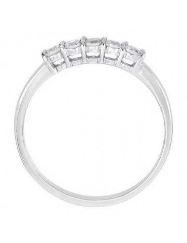 925 Rhodium: Riviera Women's ring with 5 zirconia white 2.0 mm