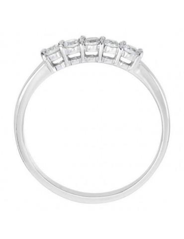 Argento 925 Rodiato : anello donna riviera con 5 zirconi bianchi da 2.0 mm