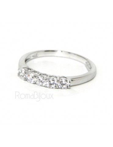 925 Rhodium: Riviera Women's Ring of 5 cubic zirconia 2.5 mm