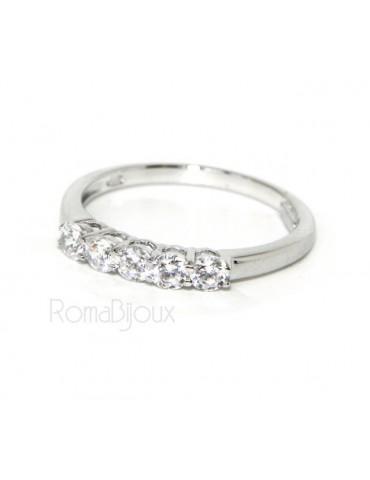 Argento 925 Rodiato : anello donna riviera di 5 zirconi bianchi da 2.5 mm