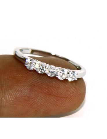 925 Rhodium: Riviera Women's Ring of 5 cubic zirconia 2.5 mm