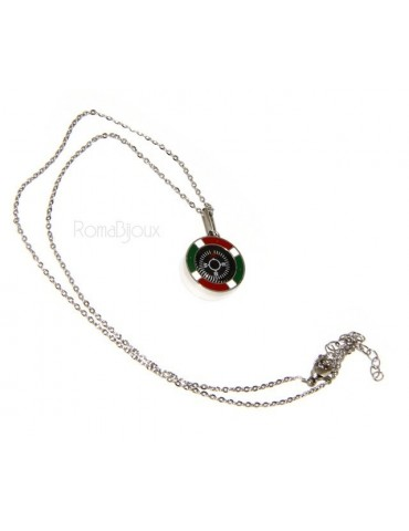 Steel: Exclusive necklace rolo 'man woman pendant Italian flag and compass