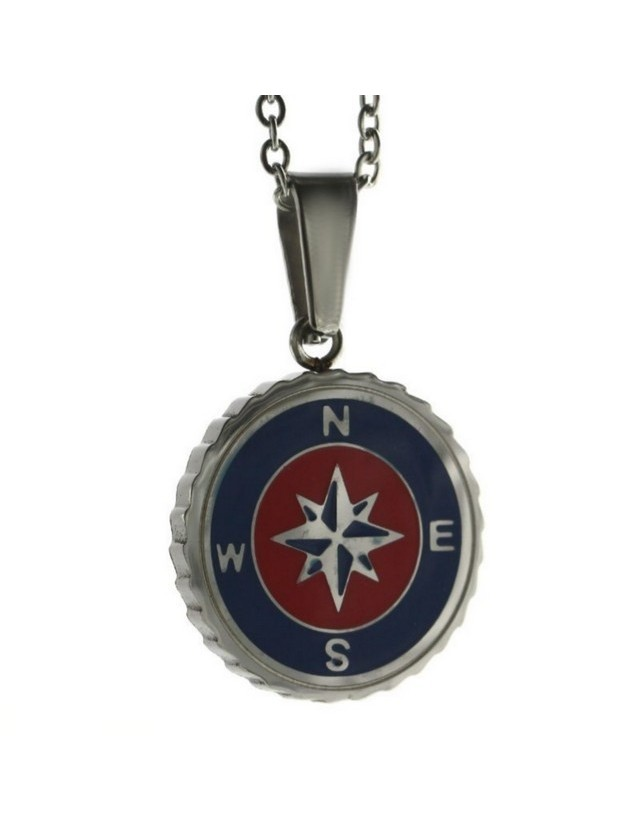 Steel: forzatina necklace with  round pendant windrose red blue enamelled
