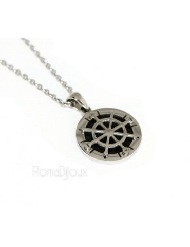 Steel: forzatina necklace with round pendant Rudder black background.