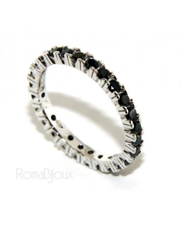 925 Rhodium: Eternity Infinity faith all around brilliant black cubic zirconia 2.5 mm for men or women