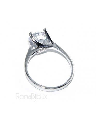 925 Rhodium: Lonely lady's ring with cubic zirconia 8mm 2ct brilliant cut
