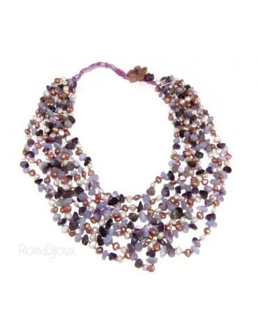 Collana da Donna collier cleopatra 8 fili ametista calcedonio e perle naturali