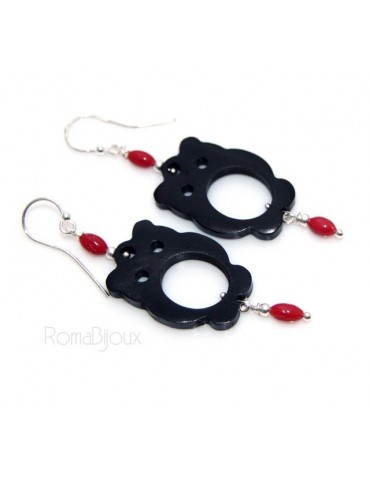 Women's earrings 925 stamped silver ebony owl and natural red coral beads