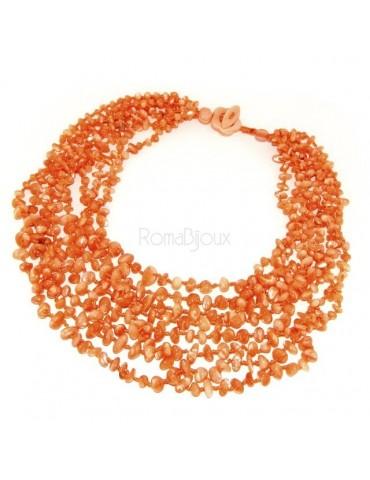 Collana da Donna collier cleopatra 8 fili madreperla naturale arancio arancione