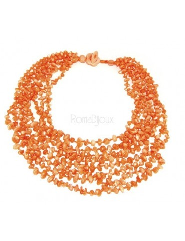Necklace by Donna Collier Cleopatra 8 orange natural orange pearl strands