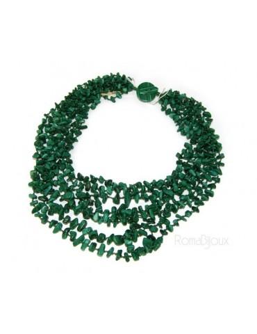 Collana da Donna collier cleopatra 8 fili malachite verde scuro