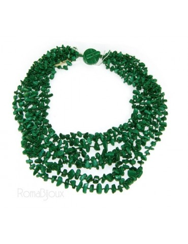 Collana da Donna collier cleopatra 8 fili malachite verde scuro