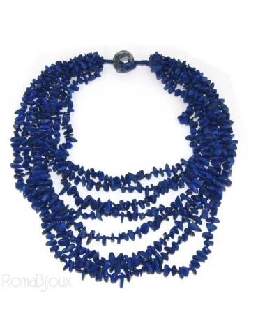 Collana da Donna collier cleopatra 8 fili Lapis naturale blu