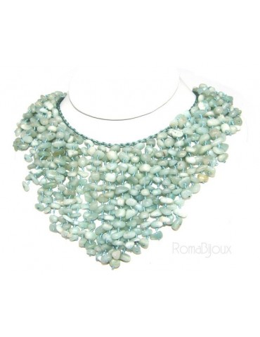 Woman necklace collier cascading rain with natural water green amazonite