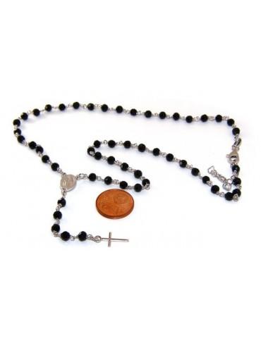 Collana Rosario uomo Argento 925 Con cristallo nero 4 mm croce e madonna miracolosa 44+5
