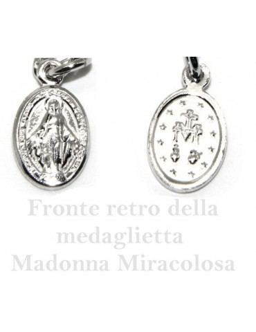 Bracelet rosary man in 925 miraculous Madonna, convex cross and black crystal. Mis 17.00 - 20:00