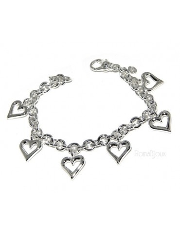 925: rolo chain bracelet woman 'with open heart pendants 17,00