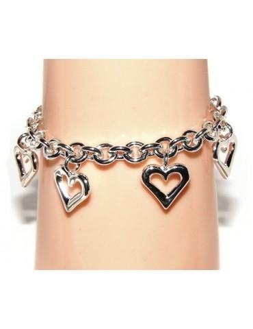 Argento 925 : Bracciale donna catena rolo' con ciondoli a cuore aperti 17,00