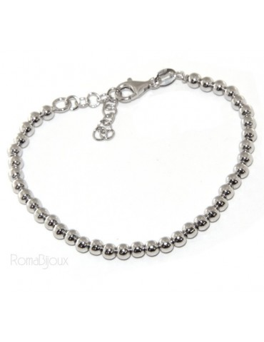 SILVER 925: Bracelet man woman balls 4 mm lung 15:00 19:00 cm