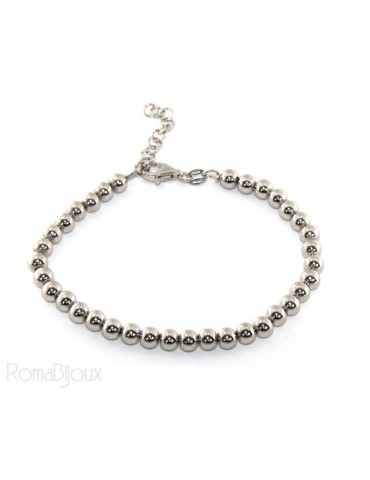 SILVER 925: Bracelet man woman balls 5 mm lung 15:00 20:00 cm