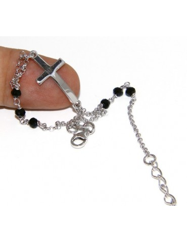Bracelet rosary man in 925 miraculous Madonna, convex cross and black crystal. mis 19.50