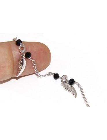 Bracciale lavorazione a rosario donna Argento 925 cristallo nero , ciondoli foglie