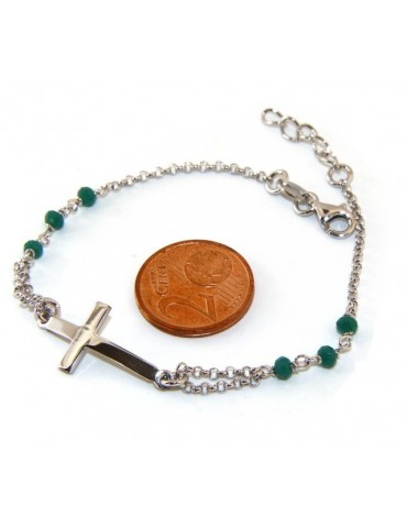 Rosary bracelet male female 925 silver  convex cross and green crystal. cm 16.50 18.50