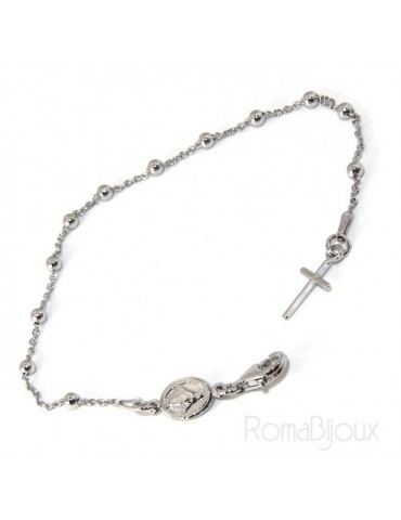 Bracciale rosario uomo o donna in Argento 925 madonna  miracolosa 18