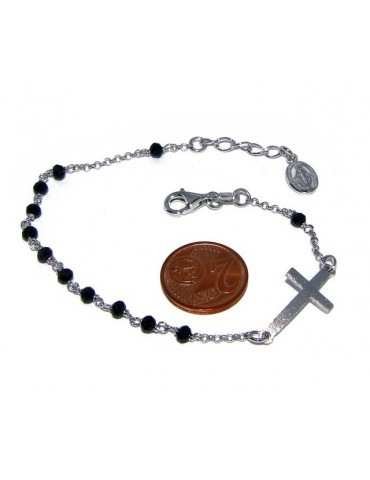 Bracelet rosary man in 925 madonna miraculous satin convex cross and black crystal. 18-20 cm