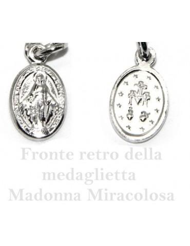 Bracciale rosario uomo in Argento 925 madonna miracolosa croce convessa satinata e cristallo nero . cm 18-20