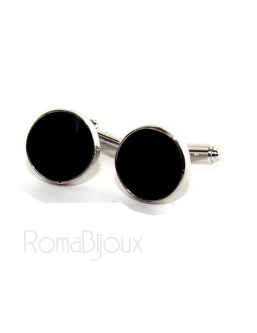 Mens Cufflinks   button for shirt 925 black enamel handmade
