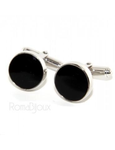 Mens Cufflinks   button for shirt 925 black enamel handmade