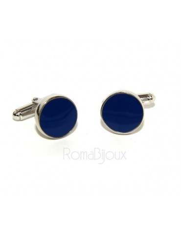 Mens Cufflinks   button for shirt 925 blue enamel handmade