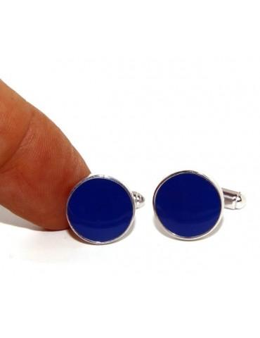 Mens Cufflinks   button for shirt 925 blue enamel handmade