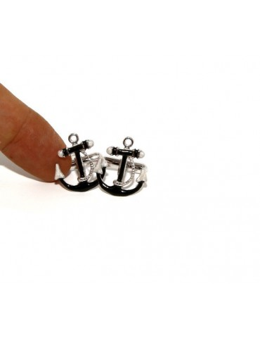 Mens Cufflinks to anchor shirt Silver 925 black enamel handmade