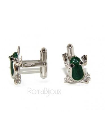 Mens Cufflinks frog shirt Silver 925 green enamel handmade