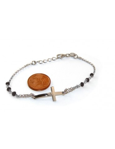 Rosary bracelet male female 925 silver  convex cross and black crystal. cm 16.50 18.50