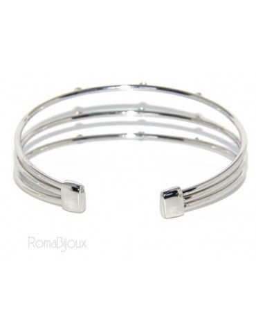 SILVER 925: Bracelet opened slave women 3 natural zircons file bright white