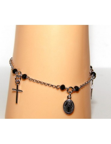 Rosary bracelet man woman 925 black crystal cross pendants miraculous Madonna cm 16,50 19,00