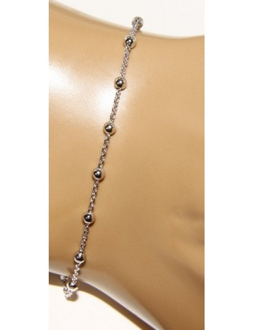 Rosary bracelet man or woman in 925 smooth rod white gold or yellow cross along short
