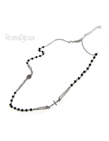 Collana Rosario uomo Argento 925 Con cristallo nero croce e madonna miracolosa 45+5 cm
