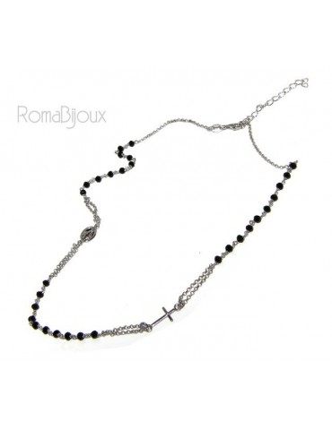 Rosary Necklace 925 Silver Man With black crystal cross and madonna 45 + 5 cm