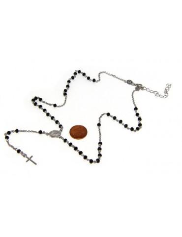 Collana Rosario uomo Argento 925 Con cristallo nero 3/3,5 mm croce e immagine madonna 49+5