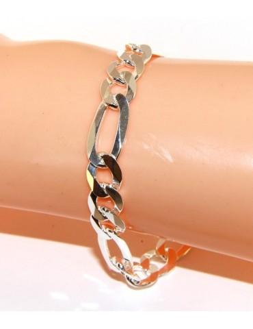 ARGENTO 925 : Bracciale uomo massiccio catena da 8,5 mm figaro 3 + 1 sbiancata 21 cm