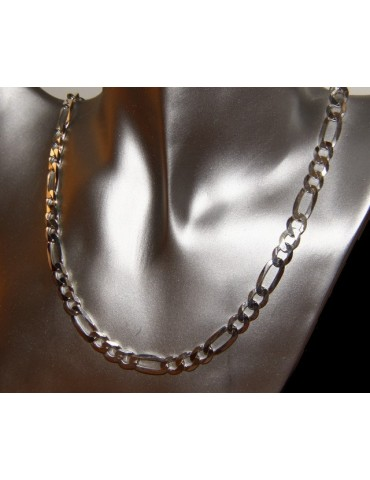 SILVER 925: necklace or bracelet man chain from 7.5 mm Figaro 3 + 1 bleached