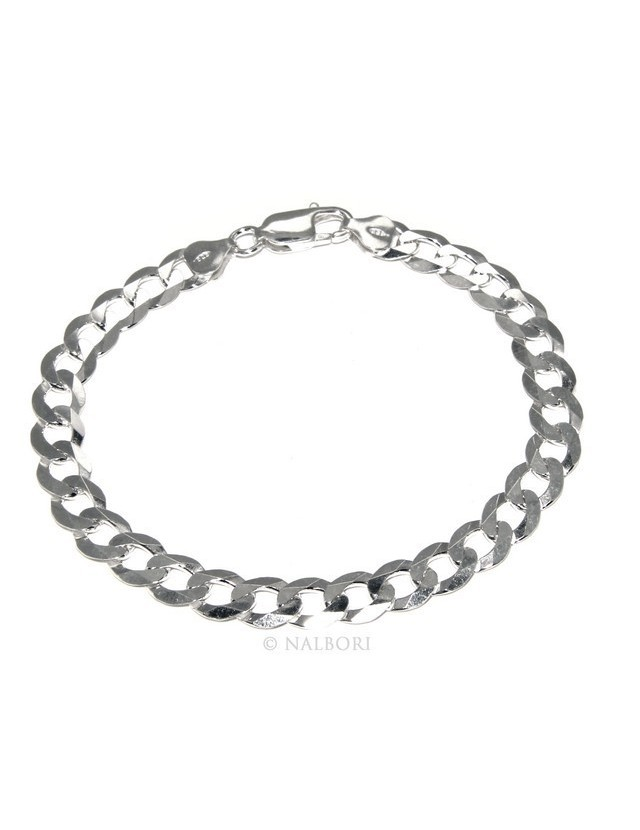 SILVER 925: necklace or bracelet man chain from 7.8 mm gourmette grumettone bleached