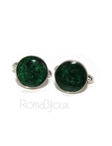 Mens Cufflinks   button for shirt 925 green enamel handmade