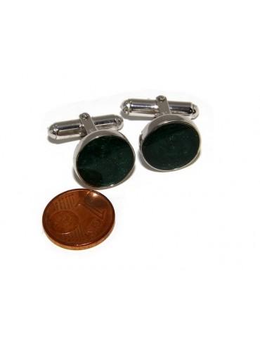 Mens Cufflinks   button for shirt 925 green enamel handmade