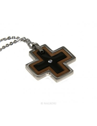 Steel hypoallergenic: Exclusive necklace © NALBORI rolo 'cross pendant puzzle 3 colors zircon
