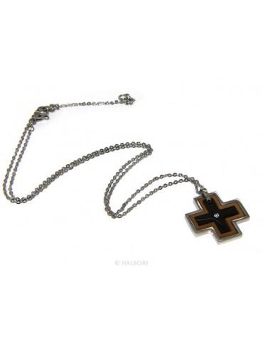 Steel hypoallergenic: Exclusive necklace © NALBORI rolo 'cross pendant puzzle 3 colors zircon